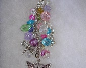 Time for Spring - Butterflies and Dragflies Crystal Purse Charm, Keychain