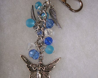Beautiful Angel Fairy Crystal Beaded KeyChain in Blue and Silver.  Purse Charm.   zipper pull