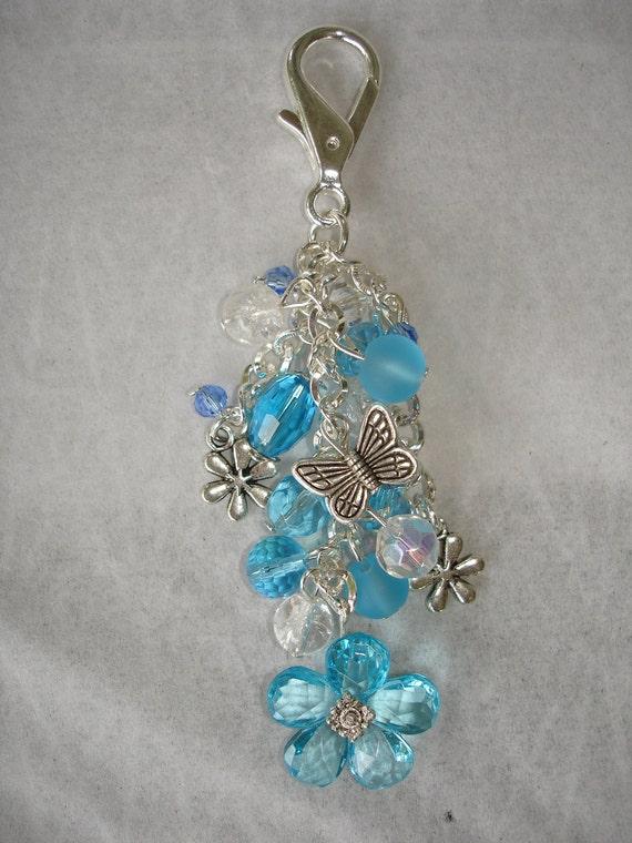 Blue Daisy Crystal Beaded Purse Charm.  Free Shipping Etsy