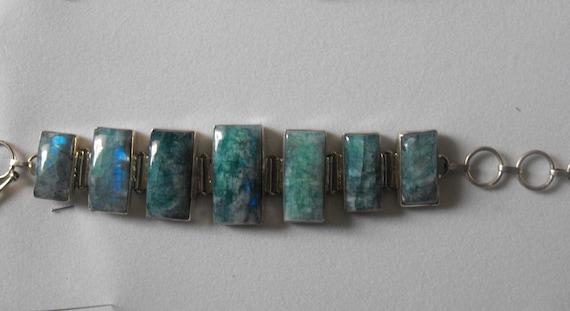 Blue Fire Moonstone  Sterling silver bracelet