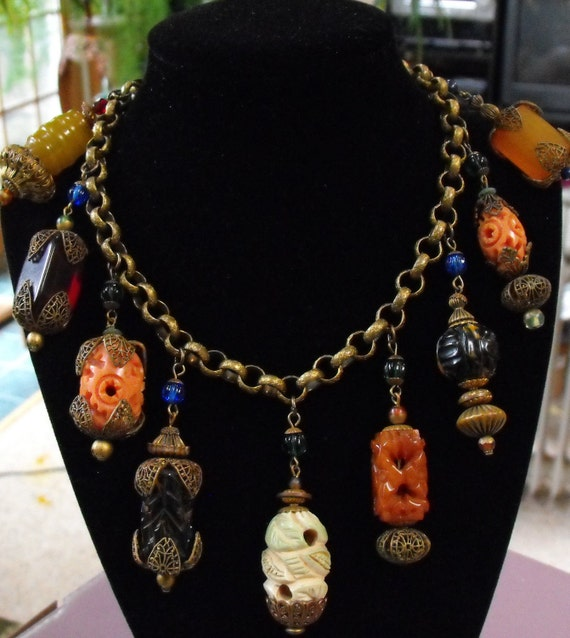 RARE antique chinese charm necklace Haskell necklace
