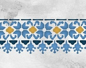 Floral Fez Border Stencil for Wall Decor and More - Moroccan Home Decor Painted with Boho Chic Pattern