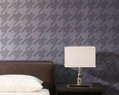 Large Graphic Houndstooth Wall Stencil  for DIY Modern Wallpaper Look - Painting Large Wall Mural with Classic Designs
