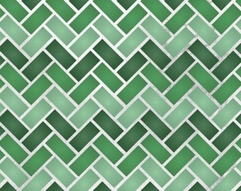 Zig Zag Tiles Allover Stencil for Wall Decor and More