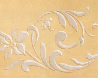 Flowing Flower Stencil Flourish Border for Hand Painted DIY Wall Decor