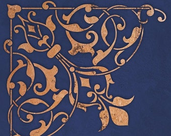 Arabesque Ceiling Corner Stencil - Painted Ceiling Designs - Moroccan Eastern Style Home Decor
