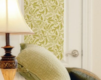 Interlacing Leaves Stencil - Large Vines Design Wallpaper Look Painted onto Classic Accent Wall