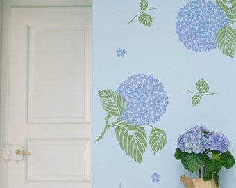 Large Wall Painting Stencils - Japanese Asian Inspired Hydrangea Flower Wall Art Stencil