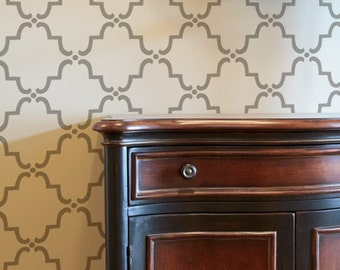 Moroccan Wall Stencil Small Moorish Trellis Allover Stencil for Wallpaper Look