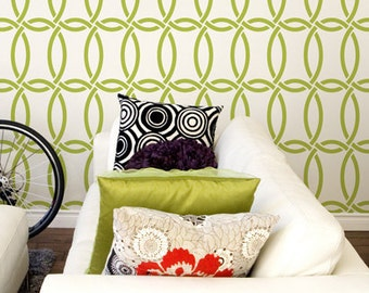 Large Modern Wall Stencil Graphic Pattern-Chain Link Allover Stencil for DIY Wall Decor