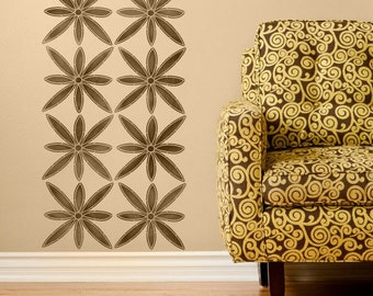 Wall Stencil - African Barka Flower Stencil for Tribal Painted Wall Mural Art