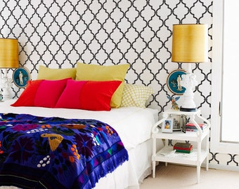 Large Trellis Wall Stencil - Moroccan Decor Style - DIY Wall Stenciling Patterns