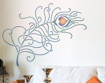 Resuable Wall Stencils Grande Peacock Feather Stencil Set for DIY Wall Decor