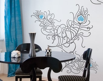 Resuable Wall Stencils Peacock Feather Set Stencil Set for DIY Wall Decor