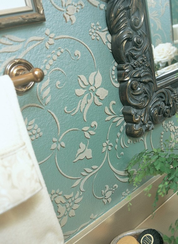 Wall Stencil Flourish Allover Damask Resuable Stencil for DIY