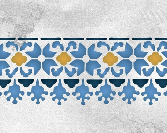 Floral Fez Border Stencil For Wall Decor And More Moroccan