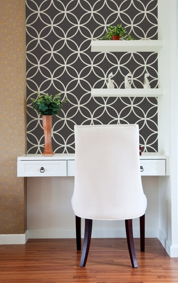 Moroccan Wall Stencil Endless Circle Lattice Stencil as Featured in Better Homes and Gardens