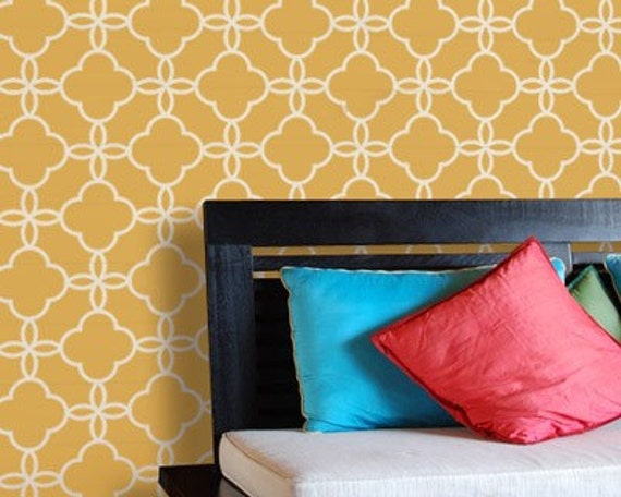 Large Moroccan Wall Stencil Eastern Lattice for Easy DIY Wall Painting and Decor