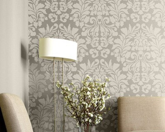 Large Wall Stencil Fabric Damask Allover Stencil for Easy DIY Wallpaper Decor