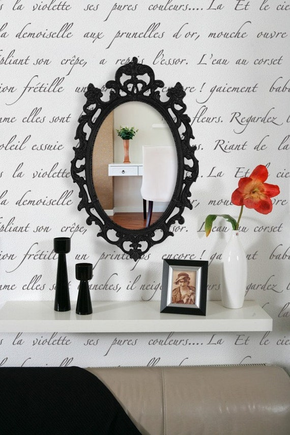 Typography Wall Stencil Springtime in Paris-Allover Stencil for Vintage or Modern Wall Decor S-3091