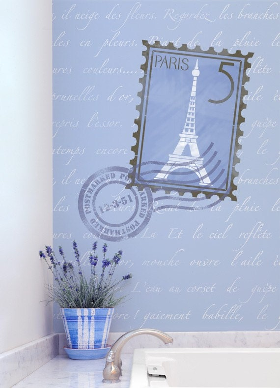 French Wall Stencils Set - Shabby Chic Vintage Painted Wall Decor - Decorate Furniture with Typography Letters Postage Stamp
