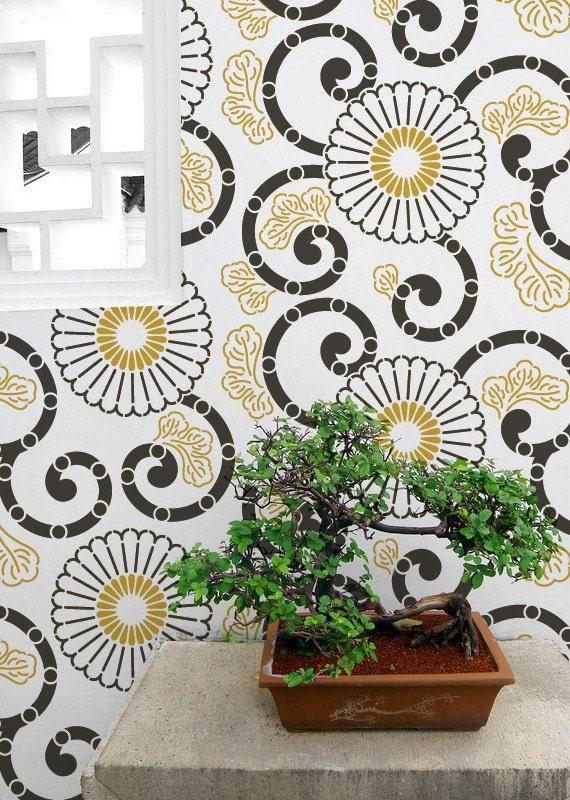 Kyoto oriental flower wall stencils for painting modern asian - Oriental stencils for walls ...