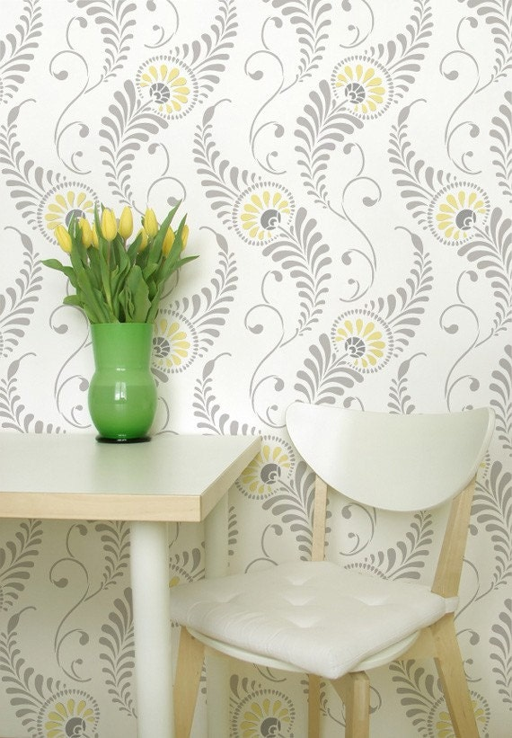 Large Wall Stencil Pattern Feathered Damask Allover Stencil for Painted  Wallpaper Look