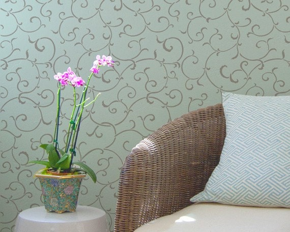 Wallpaper Wall Stencils : Wallpaper wall stencil oriental vine designs damask