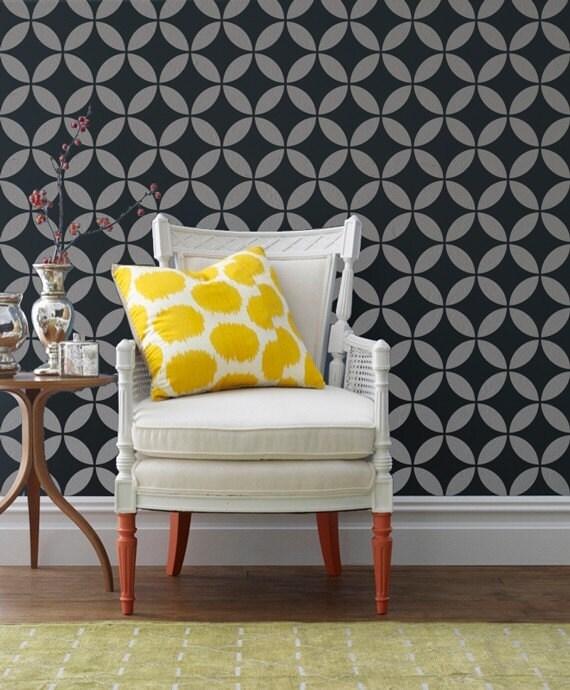 large wall stencil moroccan moorish circles geometric modern stenciled accent wall