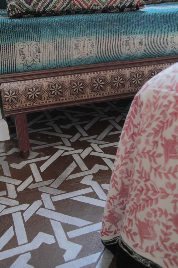 Wall Ceiling Floor Stencil Camel Bone Weave Resuable Stencil for Easy Decor - Moroccan Style Decorating and Painting