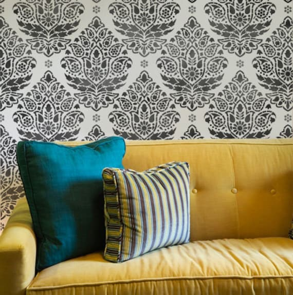 Wall Stencil Pattern Indian Paisley Damask Allover for Wall Decor and More
