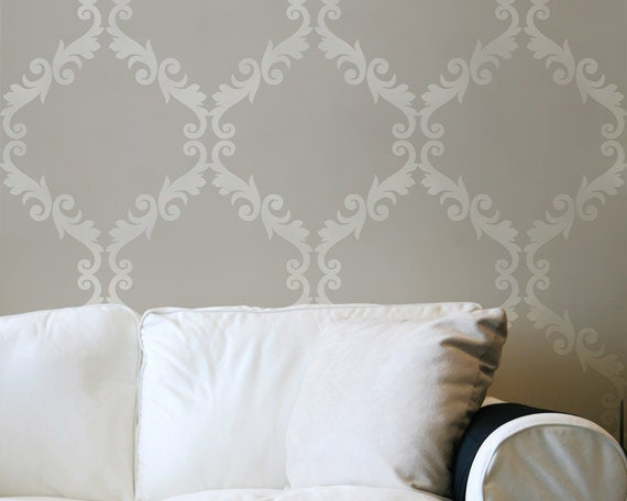 Large Wall Stencil Acanthus Trellis Allover Stencil Great Alternatiive to Wall Decals and Wallpaper for Wall Decor