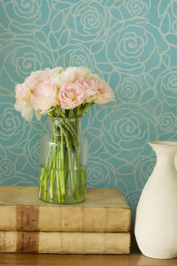 Flower wall stencil rockin roses floral by royaldesignstencils - Flower stencils for walls ...