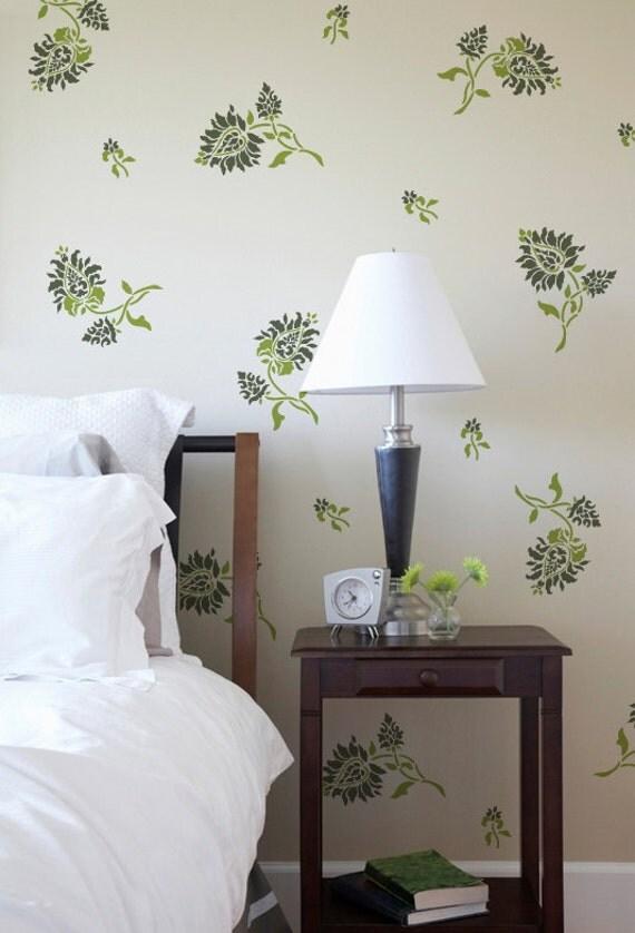 Wall pattern stencil oriental brocade elements stencil for - Oriental stencils for walls ...