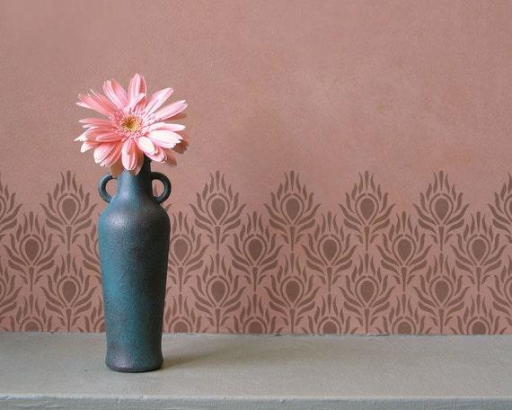 wand schablone muster pfauenfedern auf boho chic wandbild. Black Bedroom Furniture Sets. Home Design Ideas