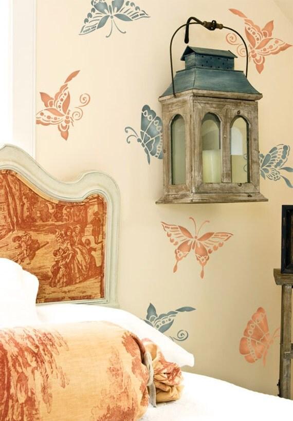 Mur pochoirs chinoiseries orientales papillons pochoir - Pochoirs pour meubles ...