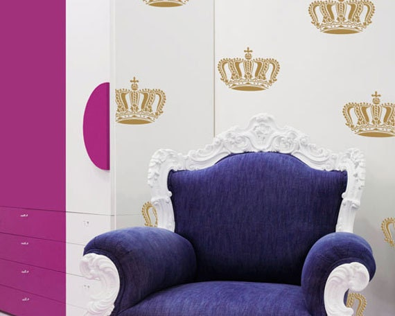 Detailed Crown Wall Stencil for Wall and Furniture Stenciling instead of a Decal