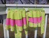 Matchy Matchy Mommy and Me Retro Ruffled Aprons in Pink and Lime Green - Photo Opportunity - OOAK  - Ready To Ship
