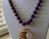 Rare Purple Beaded Epilepsy Awareness Recycled Spiral Sphere Necklace