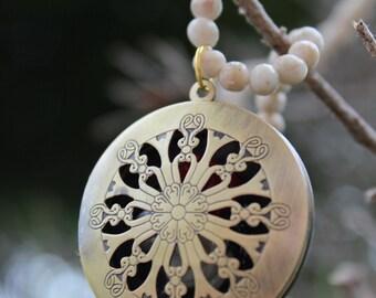 HUNGER GAMES Mockingjay Inspired beaded pearl Locket Necklace