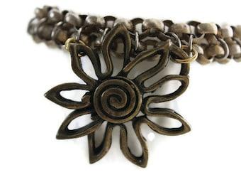 Recycled Metalwork Flower Bracelet
