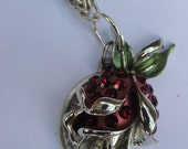 Red rose necklace, sparkly red stones,  saint medal, twisty silver chain, recycled vintage jewelry