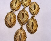 Golden Moroccan bling necklace, bold chunky chain, oversized mod pendant, mixed chain, seventies style