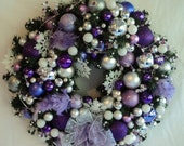 Feather Bird Silver Purple Lavendar Diamond Crystal Garland Christmas Wreath by dardawn