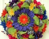 Summer Deco Mesh Wreath Lime Green with Colorful Daisies, Cheetah Print Ribbon, Birthday Wreath, Cinco De Mayo