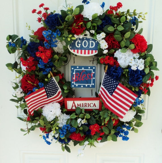 Patriotic Wreath with USA Flags God Bless America and Flowers - RESERVED for CAROLINE