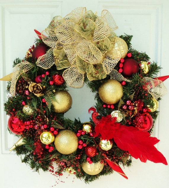 Red peacock christmas wreath garland beads gold