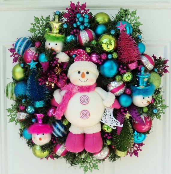 Pink Snowman Christmas Wreath with Bottlebrush Christmas Trees Pink Lime Blue