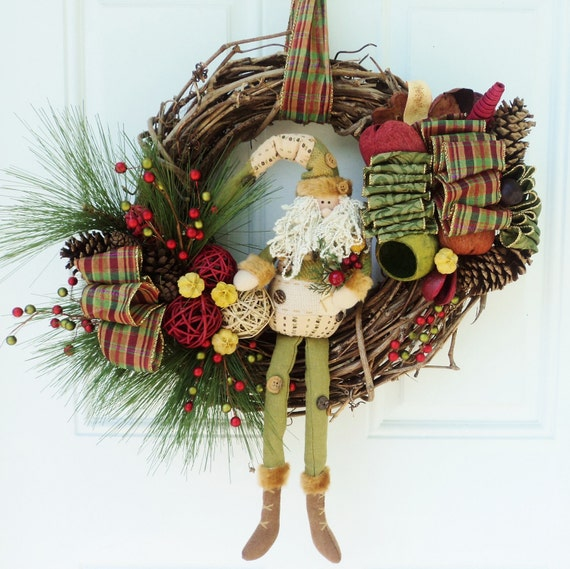 Santa Primitive Christmas Wreath Rustic Decor Plaid Bow - RESERVED FOR COLUMBUS