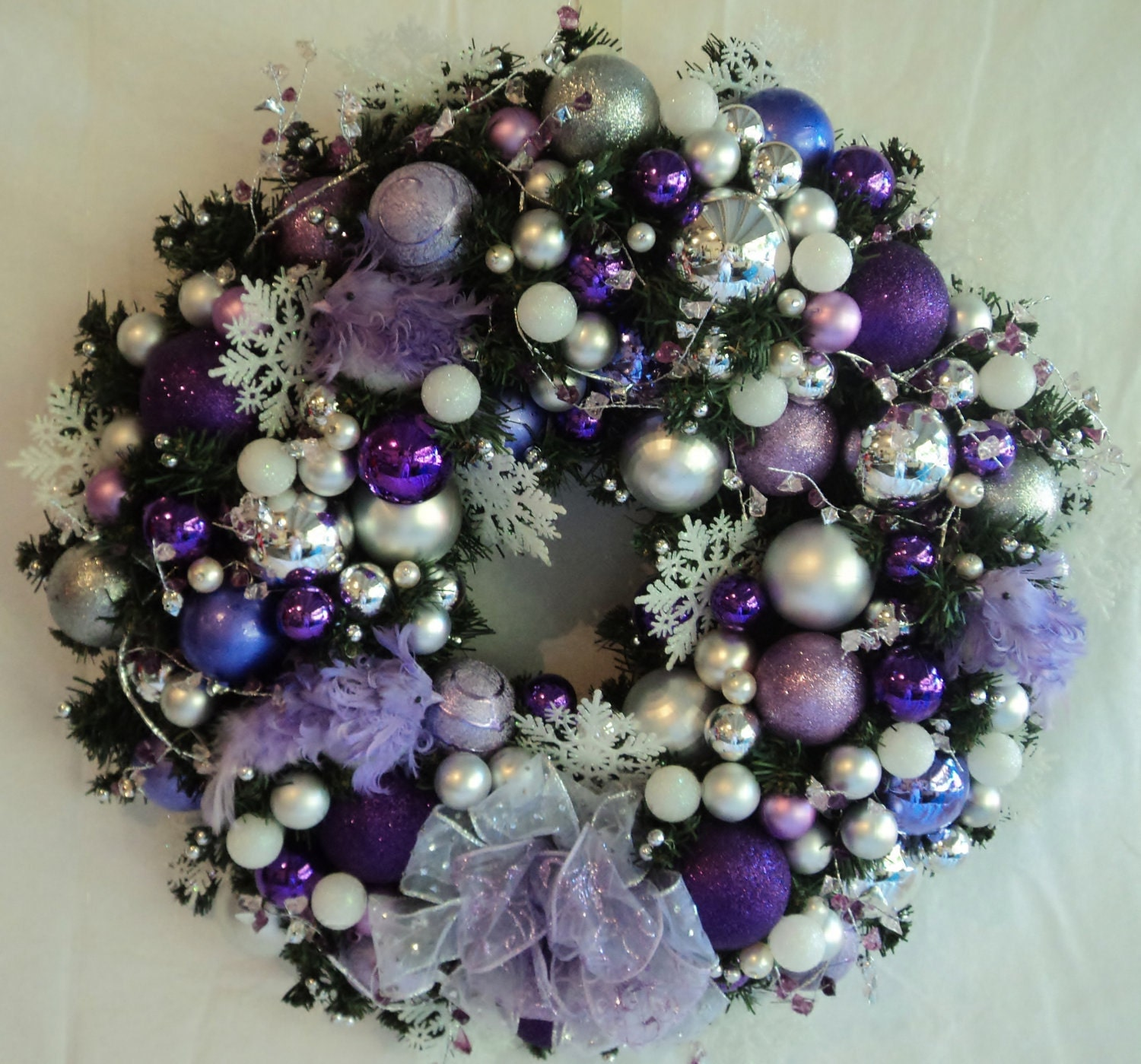 Christmas Decorations In Purple: Feather Bird Silver Purple Lavendar Diamond Crystal Garland